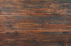 Fond en bois de planches de vieux vintage de brun foncé Photos stock
