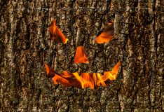 Fond en bois de sourire rampant, masque du feu sur le fond de Halloween de vacances d'écorce photo stock