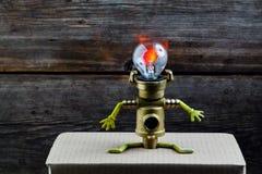 Fond en bois de tête de lampe de robot photographie stock libre de droits