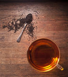 Fond en bois de tasse de thé de thé Images stock