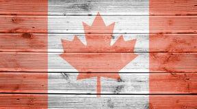 Fond en bois de texture avec des couleurs du drapeau du Canada Photos libres de droits
