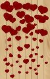 Fond en bois de texture avec les coeurs rouges Effet en baisse Images stock