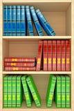 fond en bois des étagères 3d avec des livres Image libre de droits