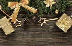 Fond en bois foncé de Noël ou de nouvelle année, Photos stock