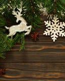 Fond en bois foncé de Noël ou de nouvelle année, Image stock