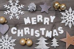 Fond en bois, Joyeux Noël, décoration d'or Image libre de droits