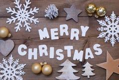 Fond en bois, Joyeux Noël et décoration de Christmassy Photographie stock