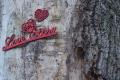 Fond en bois romantique avec l'histoire d'amour d'inscription Photo libre de droits