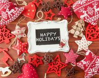 Fond en bois rustique avec des décorations de Noël Photos stock