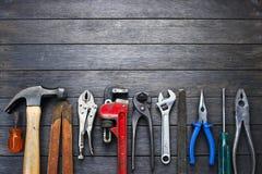 Fond en bois rustique d'outils Photographie stock libre de droits