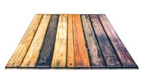 Fond en bois texturisé de perspective de grain D'isolement sur le blanc Photo libre de droits