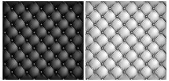 Fond en cuir blanc et noir de capitonnage Photographie stock libre de droits