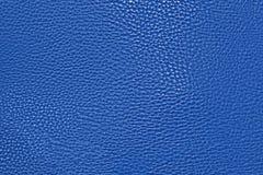 Fond en cuir bleu de texture Images libres de droits