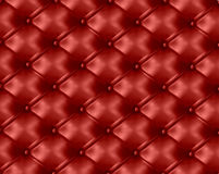 Fond en cuir bouton-tufté rouge. Vecteur Photo libre de droits