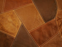 Fond en cuir de rapiéçage de tissu Photo stock