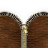 Fond en cuir de texture de Brown avec la tirette Photographie stock