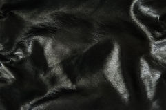 Fond en cuir noir Photos stock