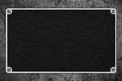 Fond en cuir noir dans le cadre argenté en métal Photos libres de droits