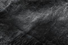 Fond en cuir noir véritable, modèle, texture Photo libre de droits