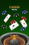 Fond en ligne de concept de casino vert, style réaliste Illustration de Vecteur