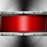 Fond en métal avec l'écran rouge Photo stock
