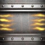 Fond en métal avec la foudre électrique Photo stock