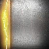 Fond en métal avec la foudre électrique Photographie stock libre de droits