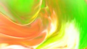 Fond en mouvement ou débordant de vert jaune d'huile courant d'abrégé sur de nourriture d'encre orange de couleur