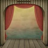 Fond en pastel avec la voûte et les rideaux Photographie stock libre de droits