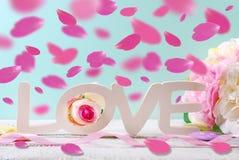Fond en pastel d'amour avec les pétales de rose en baisse Images stock
