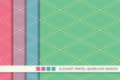 Fond en pastel sans couture Diamond Check Cross Vortex Frame réglé Photos libres de droits