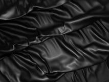 Fond en soie noir abstrait de tissu de satin Photos libres de droits