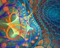 Fond en spirale incurvé par fractale avec le Web Images libres de droits