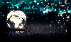 Fond en verre de Crystal Silver City Light Shine Bokeh 3D de globe Images stock