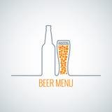 Fond en verre de menu de bouteille à bière illustration de vecteur