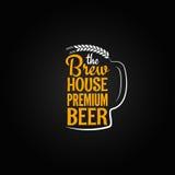 Fond en verre de menu de conception de maison de bouteille à bière Images libres de droits