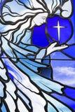 Fond en verre plombé souillé d'anges Photographie stock libre de droits