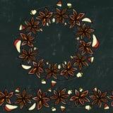 Fond et craie noirs de conseil Brosse sans fin de modèle, guirlande ronde avec avec Anise Star Seeds Vin ou sangria mué Coctail illustration de vecteur
