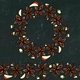 Fond et craie noirs de conseil Brosse sans fin de modèle, guirlande ronde avec avec Anise Star Seeds Vin ou sangria mué Coctail illustration stock