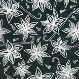 Fond et craie noirs de conseil Modèle sans fin sans couture d'Anise Star Seed et de vanille Fond saisonnier de nourriture Cuisson illustration stock