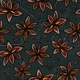 Fond et craie noirs de conseil Modèle sans fin sans couture d'Anise Star Seed et de vanille Fond saisonnier de nourriture Cuisson illustration libre de droits