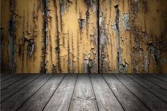 Fond et plancher grunges en bois de scène Panneaux gris en bois de boîte images stock