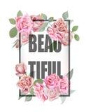 Fond et slogan d'impression de roses Pour la conception ou autre de T-shirt nous Photographie stock libre de droits