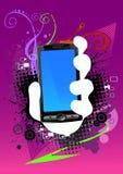 Fond et téléphone portable abstraits Photographie stock