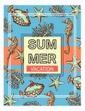 Fond exotique d'été avec des poissons, des étoiles de mer, l'hippocampe et des coraux Illustration de Vecteur
