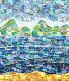 Fond exotique de paysage fait avec de petites illustrations Photo libre de droits