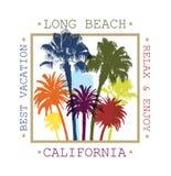 Fond exotique de voyage avec des palmiers pour Long Beach, la Californie Photo stock
