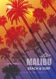 Fond exotique de voyage avec des palmiers pour Malibu, la Californie illustration stock