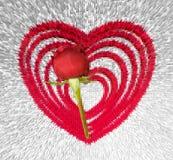 Fond expulsé de coeur avec la rose rouge illustration stock