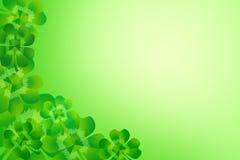 Fond faisant le coin de cadre de frontière de trèfle/oxalide petite oseille de feuille du vert quatre Photographie stock libre de droits